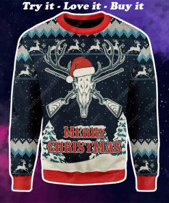 deer hunting merry christmas all over printed ugly christmas sweater