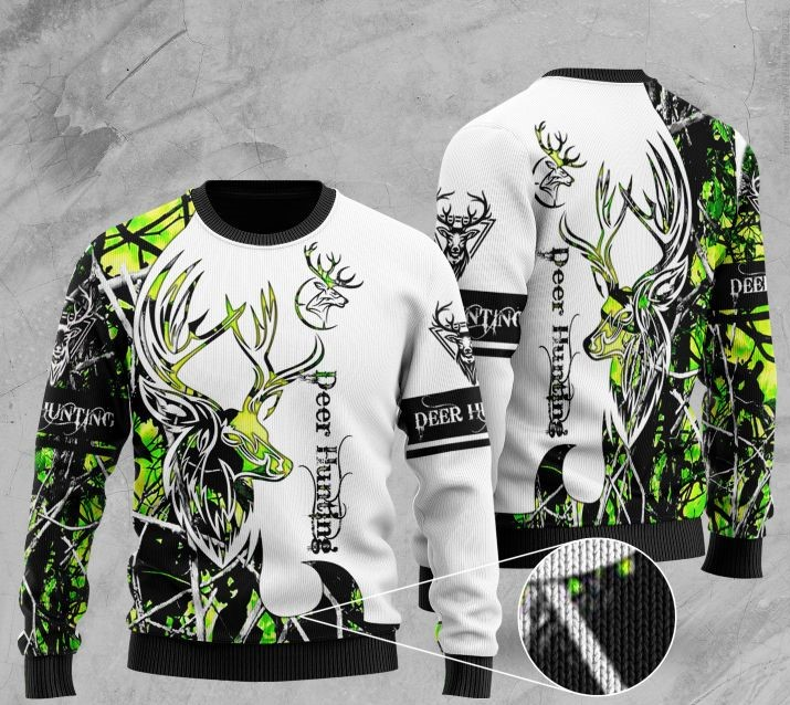 deer hunting pattern full printing christmas ugly sweater 2