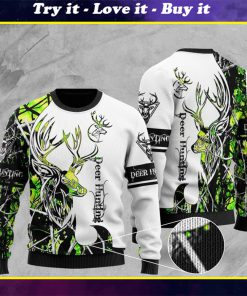 deer hunting pattern full printing christmas ugly sweater