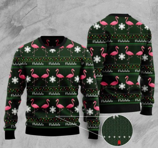 fa la la la flamingo full printing pattern christmas ugly sweater 2