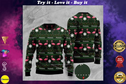 fa la la la flamingo full printing pattern christmas ugly sweater