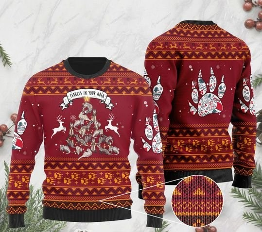 ferrets in your area pattern full printing christmas ugly sweater 2 - Copy