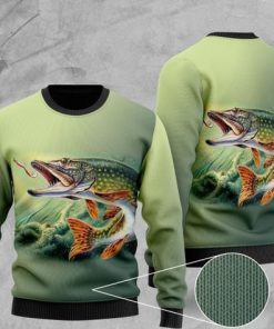 fisher fishing all over printed christmas ugly sweater 2