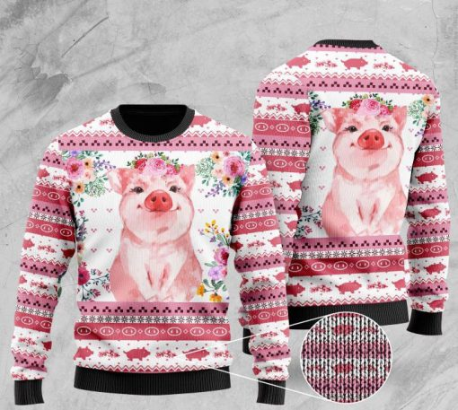 floral piggy pattern full printing christmas ugly sweater 2