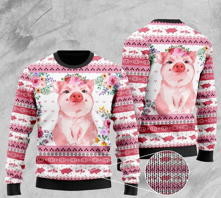 floral piggy pattern full printing christmas ugly sweater 2 - Copy (2)