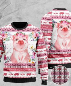 floral piggy pattern full printing christmas ugly sweater 2 - Copy