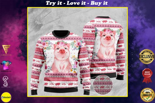 floral piggy pattern full printing christmas ugly sweater