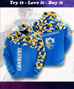 go chargers los angeles chargers camo full printing shirt