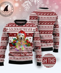 golden retriever through the snow full printing christmas ugly sweater 2