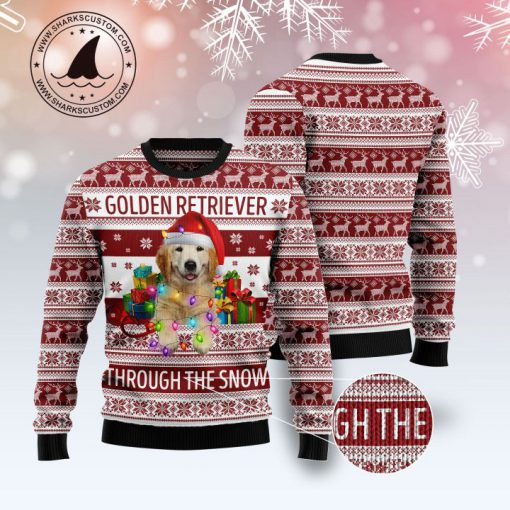 golden retriever through the snow full printing christmas ugly sweater 3