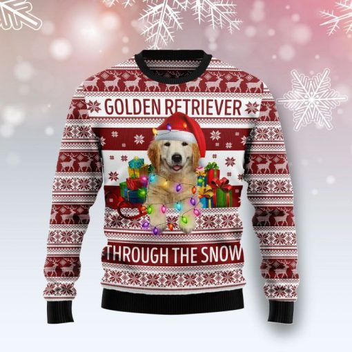golden retriever through the snow full printing christmas ugly sweater 4