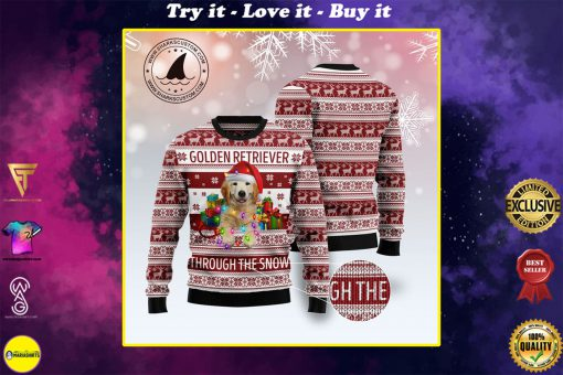 golden retriever through the snow full printing christmas ugly sweater
