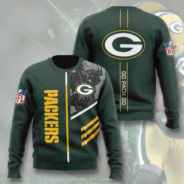 green bay packers go pack go full printing ugly sweater 2