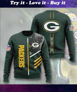 green bay packers go pack go full printing ugly sweater