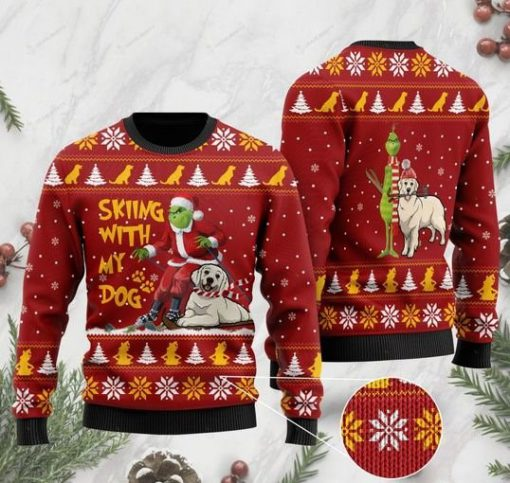 grinch and golden retriever skiing with my dog christmas ugly sweater 2