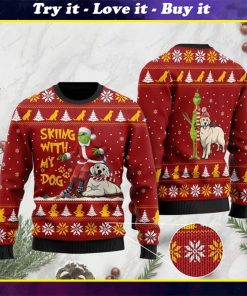 grinch and golden retriever skiing with my dog christmas ugly sweater