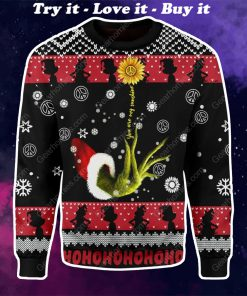 grinch and sunflower all over printed ugly christmas sweater