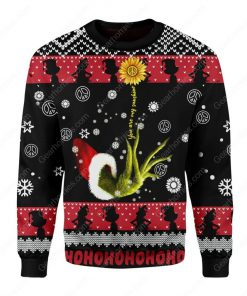 grinch and sunflower all over printed ugly christmas sweater 3