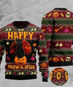 halloween happy cat pattern full printing christmas ugly sweater 2