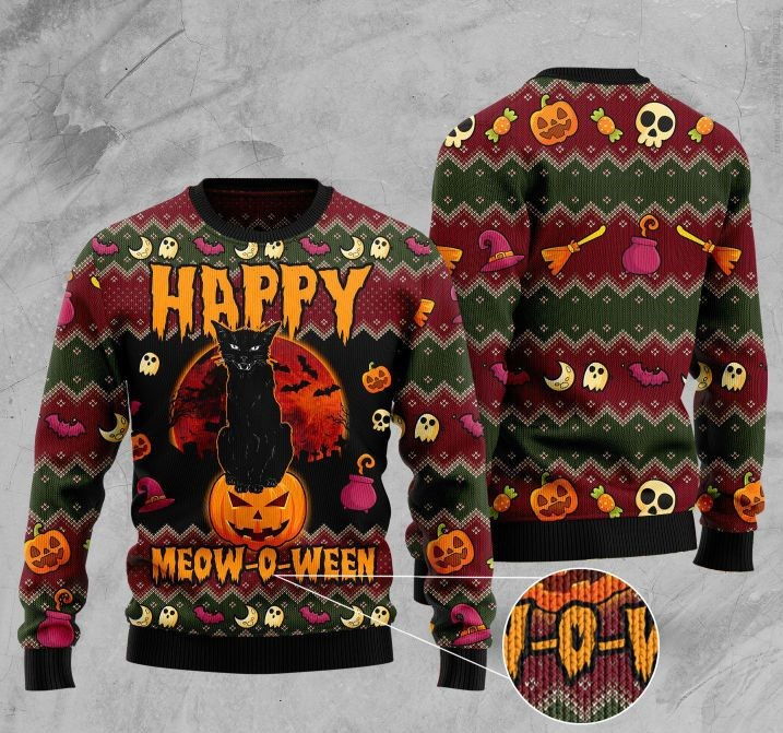 halloween happy cat pattern full printing christmas ugly sweater 2 - Copy