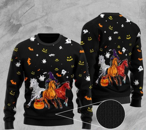 halloween horse full printing christmas ugly sweater 2 - Copy