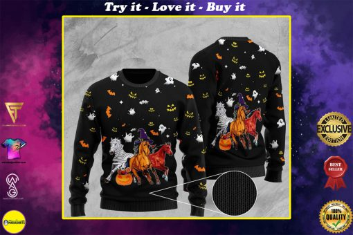 halloween horse full printing christmas ugly sweater