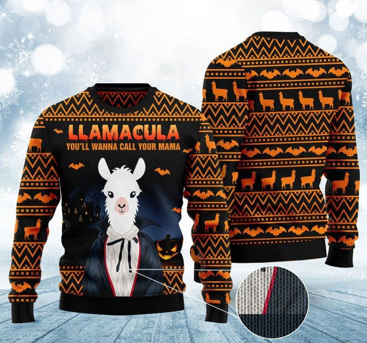 halloween llama youll wanna call me your mama christmas ugly sweater 2 - Copy