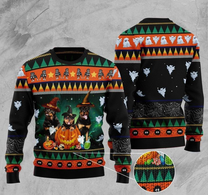 halloween rottweiler full printing christmas ugly sweater 2