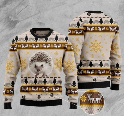 hedgehog pattern full printing christmas ugly sweater 2 - Copy