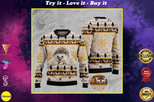 hedgehog pattern full printing christmas ugly sweater