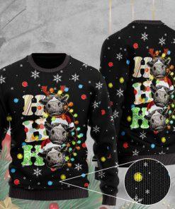 heifer cow ho ho ho pattern full printing christmas ugly sweater 2