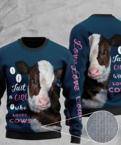heifer just a girl who loves cows full printing christmas ugly sweater 2