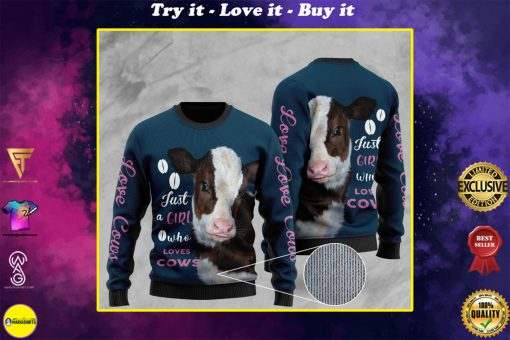 heifer just a girl who loves cows full printing christmas ugly sweater