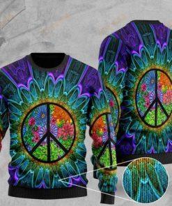 hippie symbol tie dye pattern full printing christmas ugly sweater 2 - Copy