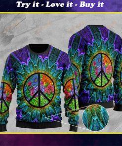 hippie symbol tie dye pattern full printing christmas ugly sweater