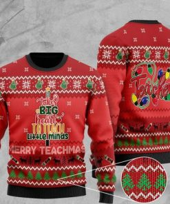 it takes big heart to teach little minds merry teachmas christmas ugly sweater 2