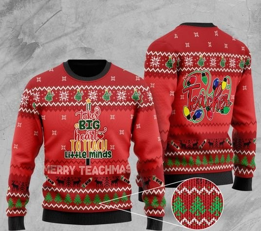 it takes big heart to teach little minds merry teachmas christmas ugly sweater 2 - Copy (2)