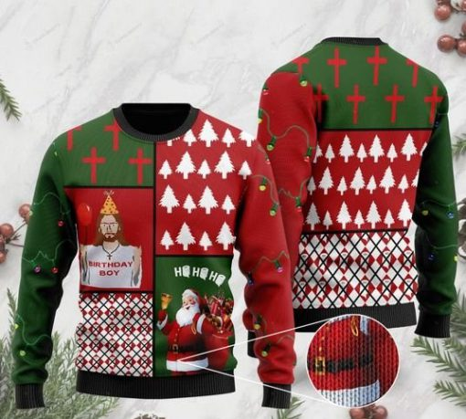 jesus birthday boy and santa claus ho ho ho with toilet paper 2020 christmas ugly sweater 2