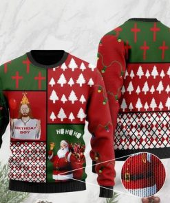 jesus birthday boy and santa claus ho ho ho with toilet paper 2020 christmas ugly sweater 2 - Copy (3)