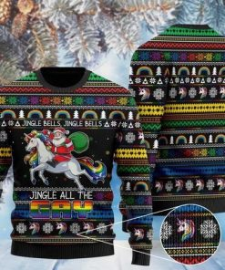 jingle bells jingle bells jingle all the gay with santa and unicorn ugly sweater 2 - Copy (2)