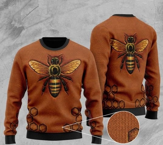 love bee all over printed christmas ugly sweater 2