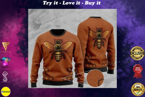 love bee all over printed christmas ugly sweater
