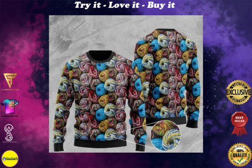 love yarn all over printed christmas ugly sweater