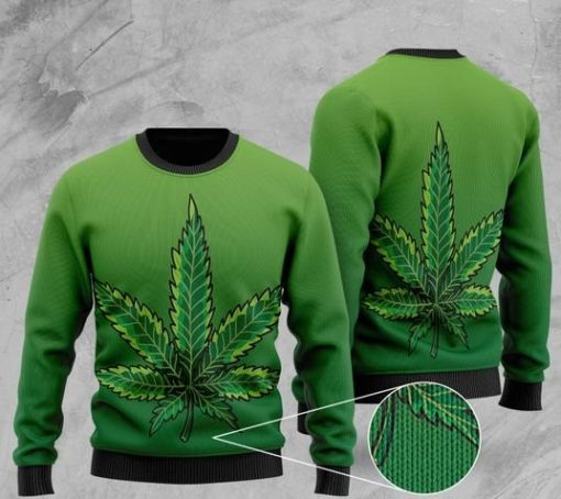 marijuana cannabis all over printed christmas ugly sweater 2 - Copy
