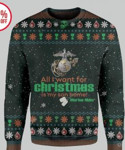 marine mom all i want for christmas is my son home christmas ugly sweater 2
