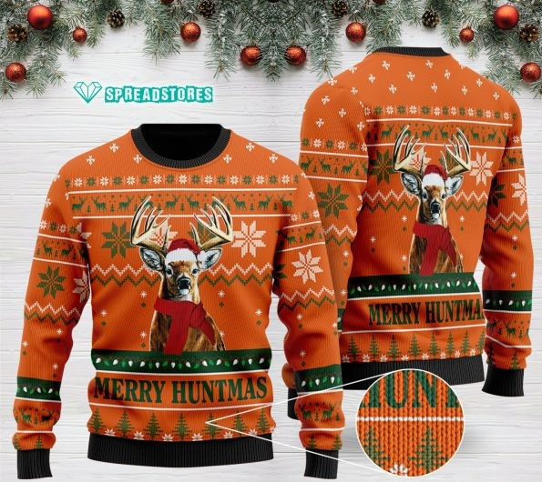 merry huntmas deer hunting full printing christmas ugly sweater 2