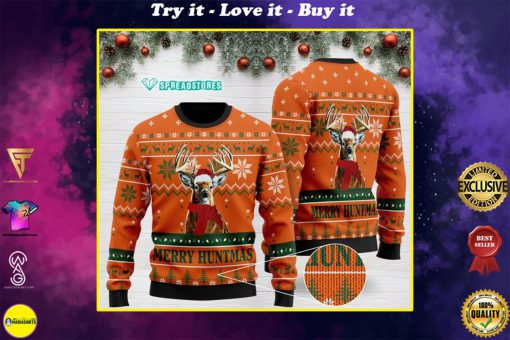 merry huntmas deer hunting full printing christmas ugly sweater