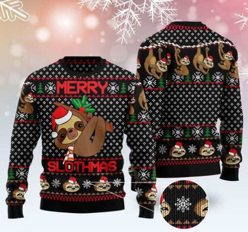 merry slothmas pattern full printing christmas ugly sweater 2