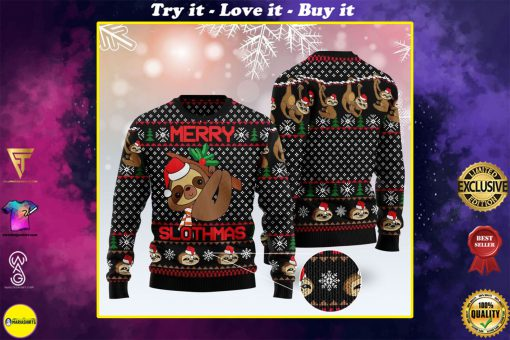 merry slothmas pattern full printing christmas ugly sweater