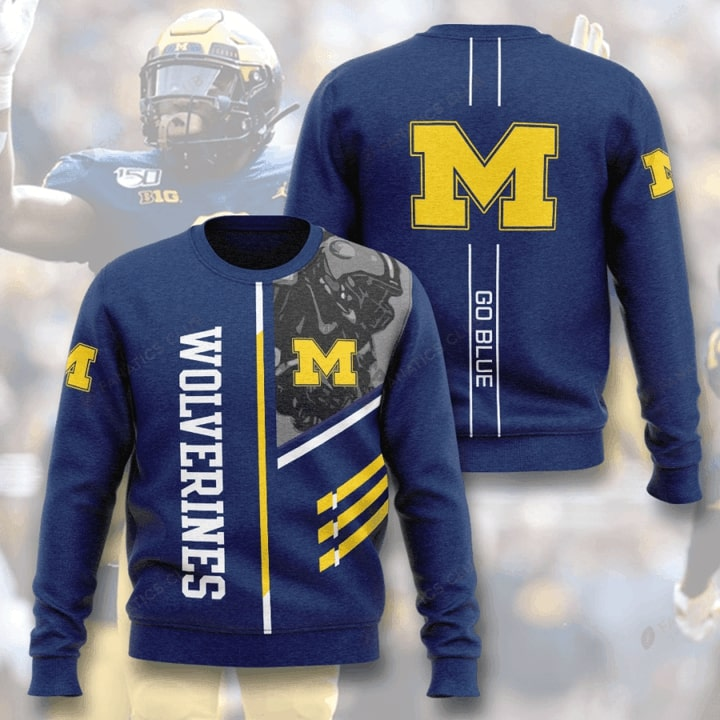 michigan wolverines football go blue full printing ugly sweater 4